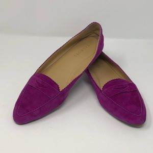 Talbots, 8, Fuchsia Leather Pointed Penny Loafers